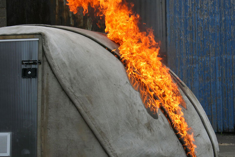 Fire resistant material of the Concrete Canvas Shelter