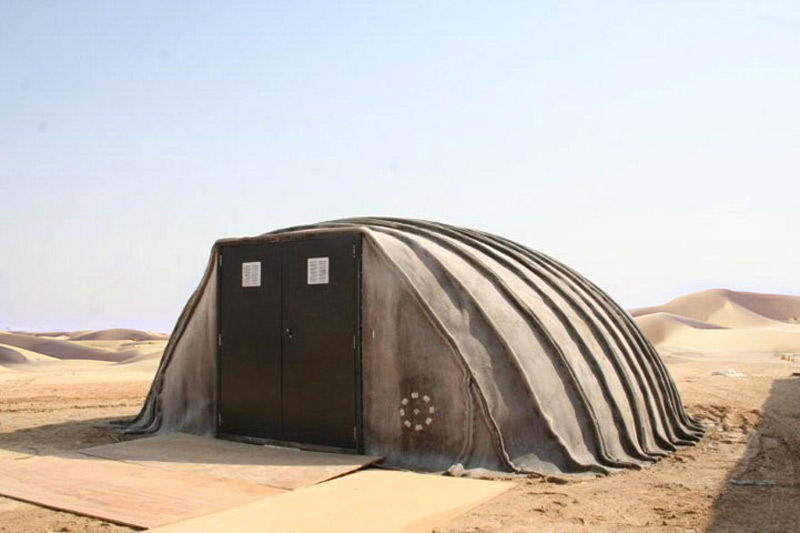 Exterior front-side view of the Concrete Canvas Shelter in Saudi Arabia