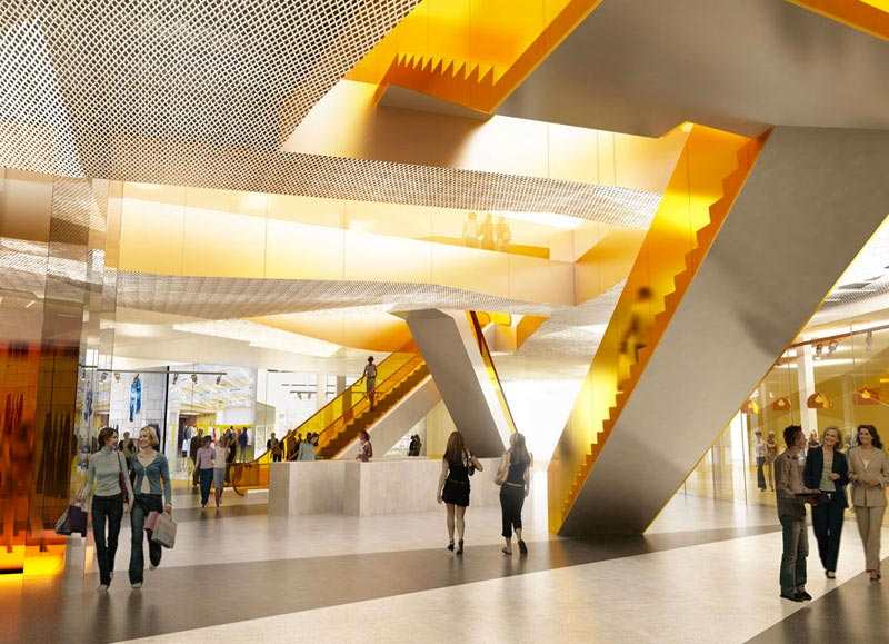 ground floor design and view of escalators at Emporia shopping center in Malmo designed by Wingårdhs Architects