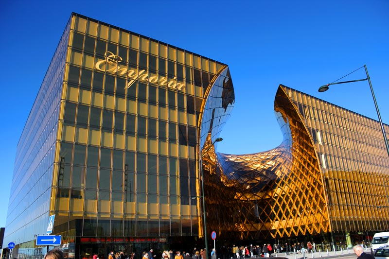 Exterior architecture of Emporia shopping center in Malmo