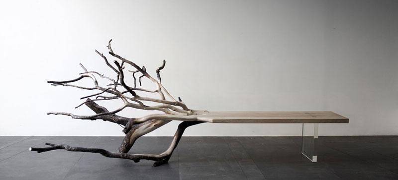 "Front view of the ""Fallen Tree"" bench by Benjamin Graindorge"