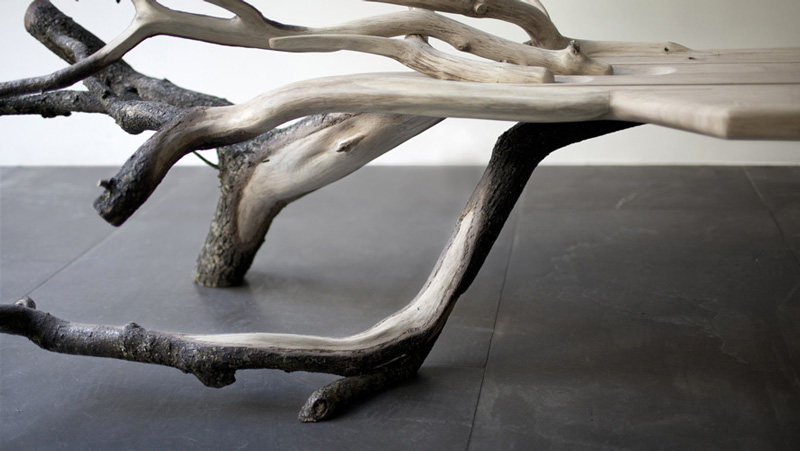 "Closeup view of the left side of the ""Fallen Tree"" bench by Benjamin Graindorge"