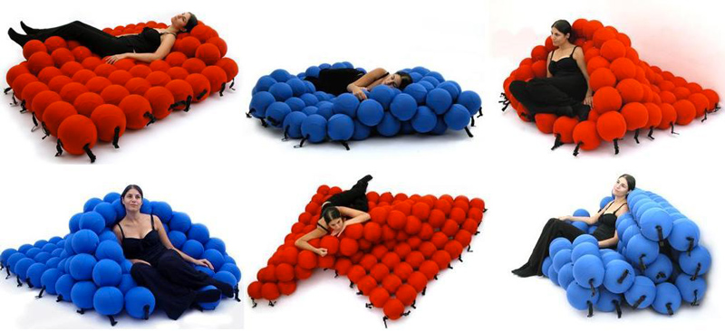 6 images of a woman sitting and lying down on blue and red Feel Seating deluxe by Animi Causa