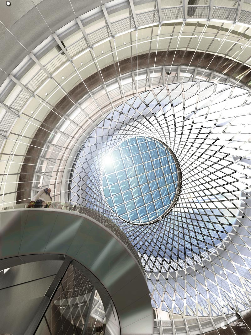 Interior view of the skylight at the Fulton Center Project