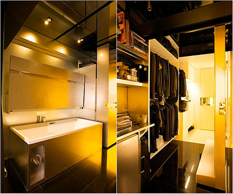 bath tub and walk in closet in a micro apartment in Hong Kong