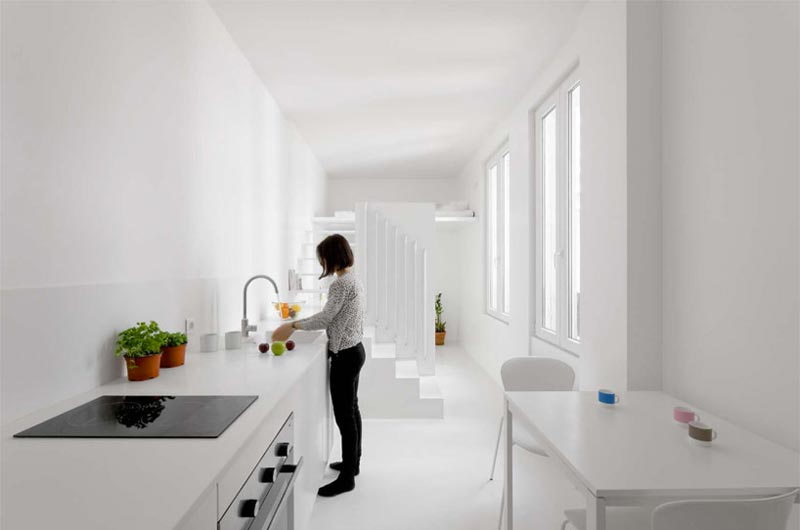 Kitchen in a micro studio apartment in Paris