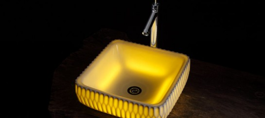 LED Illuminated Translucent Ceramic Washbasins by Souhougama