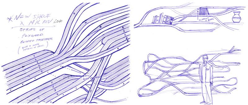 Sketches of the Metamorphosis Bookshelf by designer Sebastian Errazuriz