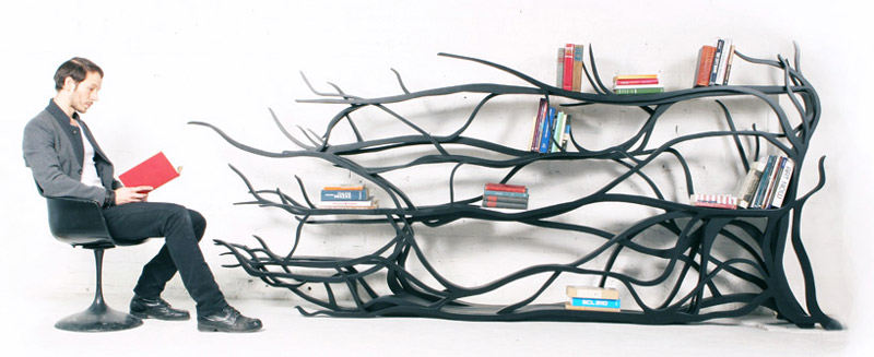 The Metamorphosis Bookshelf in black by designer Sebastian Errazuriz