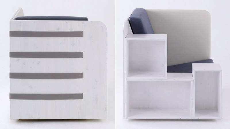Collage of 2 images, front and back view of the Openbook Armchair by Studio Tilt