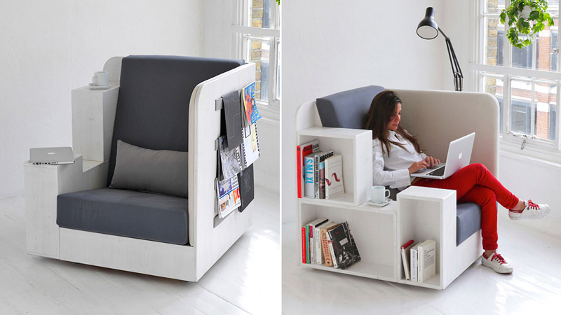 Collage of 2 images of the Openbook Armchair by Studio Tilt in a white room & OpenBook Armchair by British Design Studio TILT | Jebiga Design ...