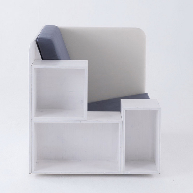 Front view of the Openbook Armchair by Studio Tilt