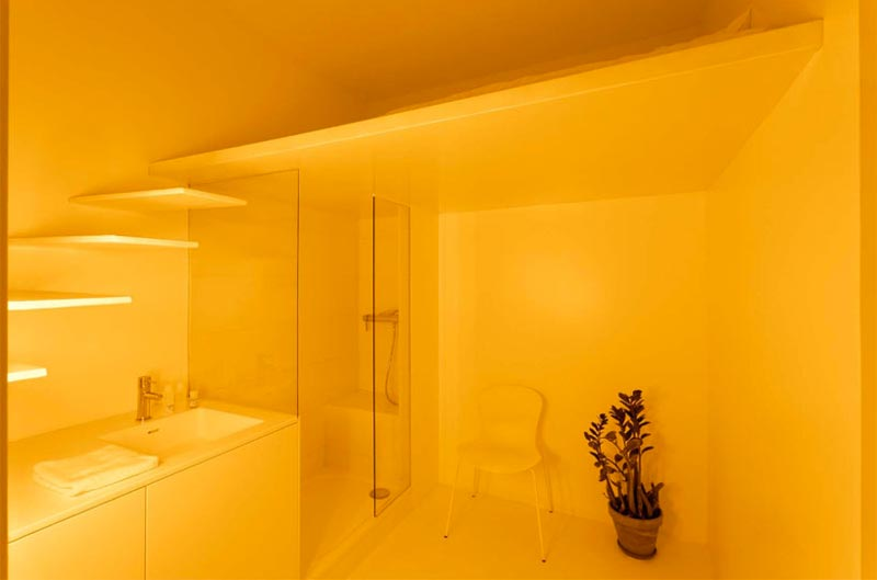 bathroom in a micro studio apartment in Paris