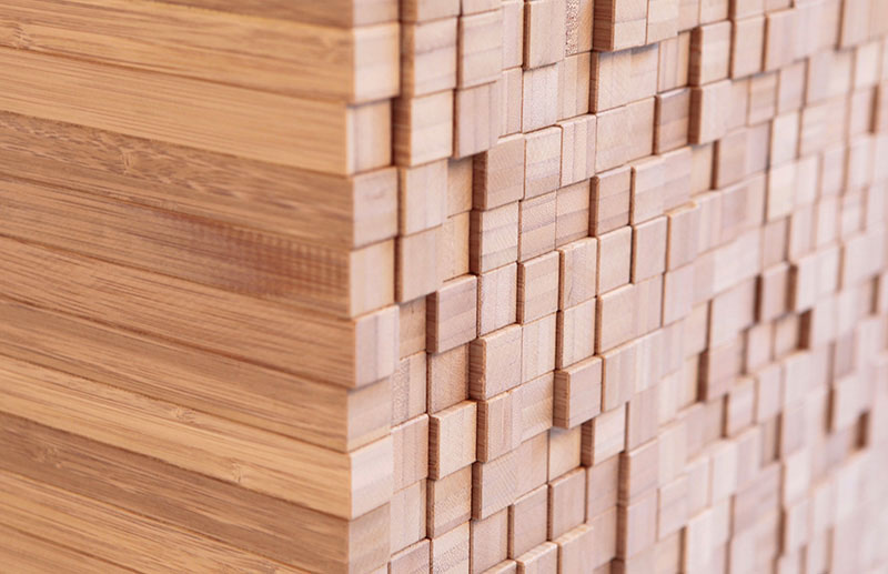 closeup of the bamboo cubes on the side of the Pixel Table by Studio Intussen