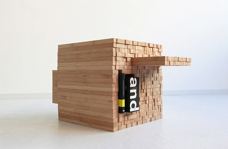 A book stored on the side of the Pixel Table designed by Studio Intussen