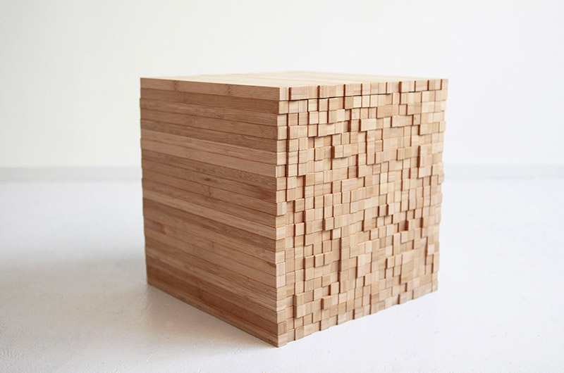 Square pixel table on a white background designed by Studio Intussen