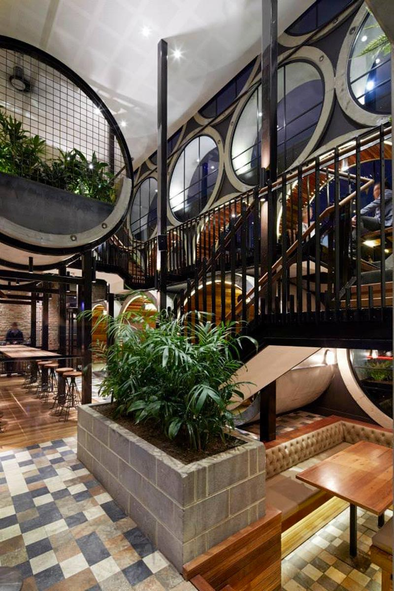 interior view of seating area and stairs at Prahran Hotel
