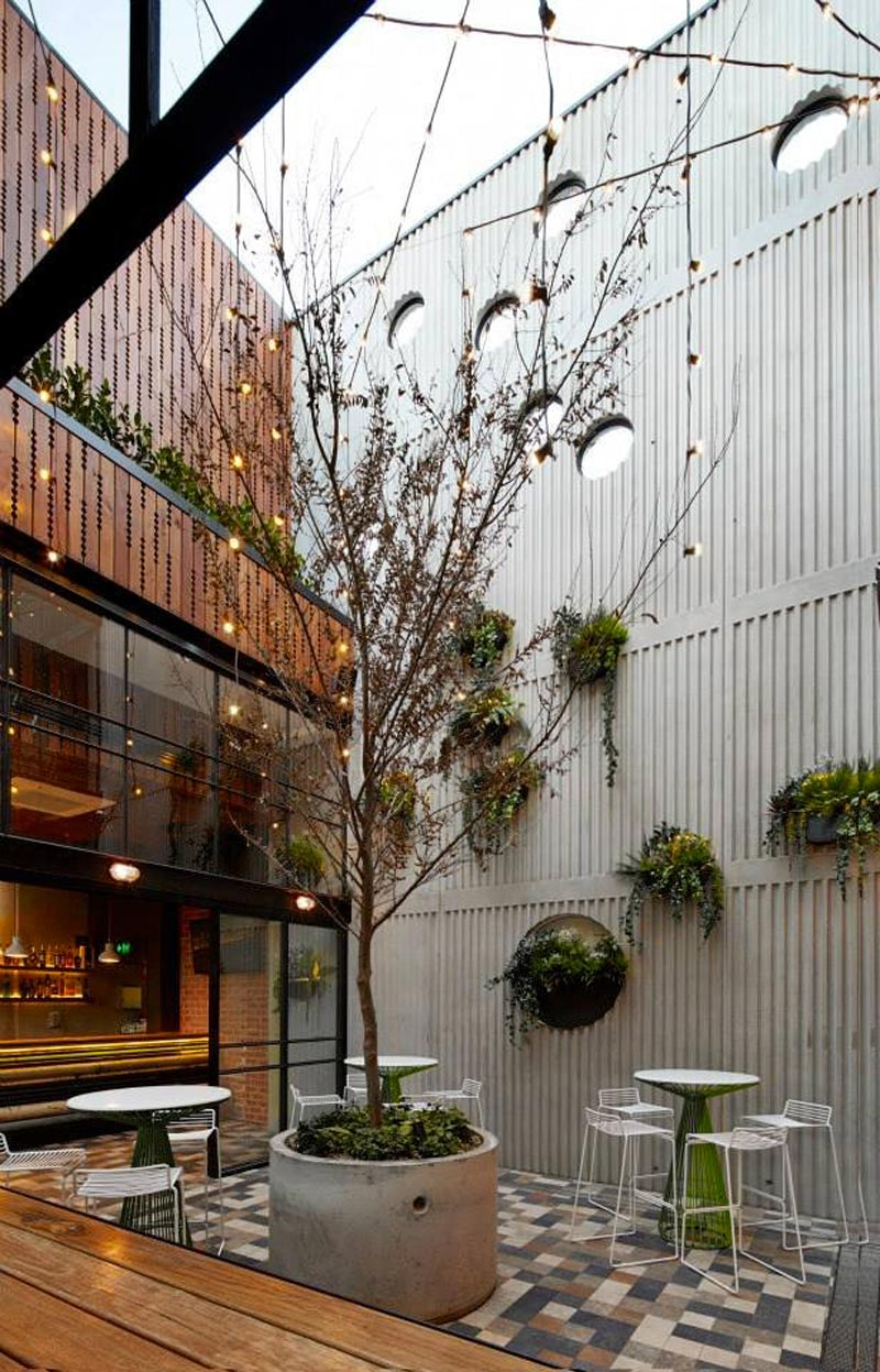 garden view with trees, tables and chairs at Prahran Hotel in Victoria