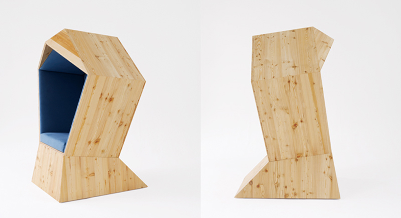 Front side view of the wooden made Quiet Chair by Studio TILT