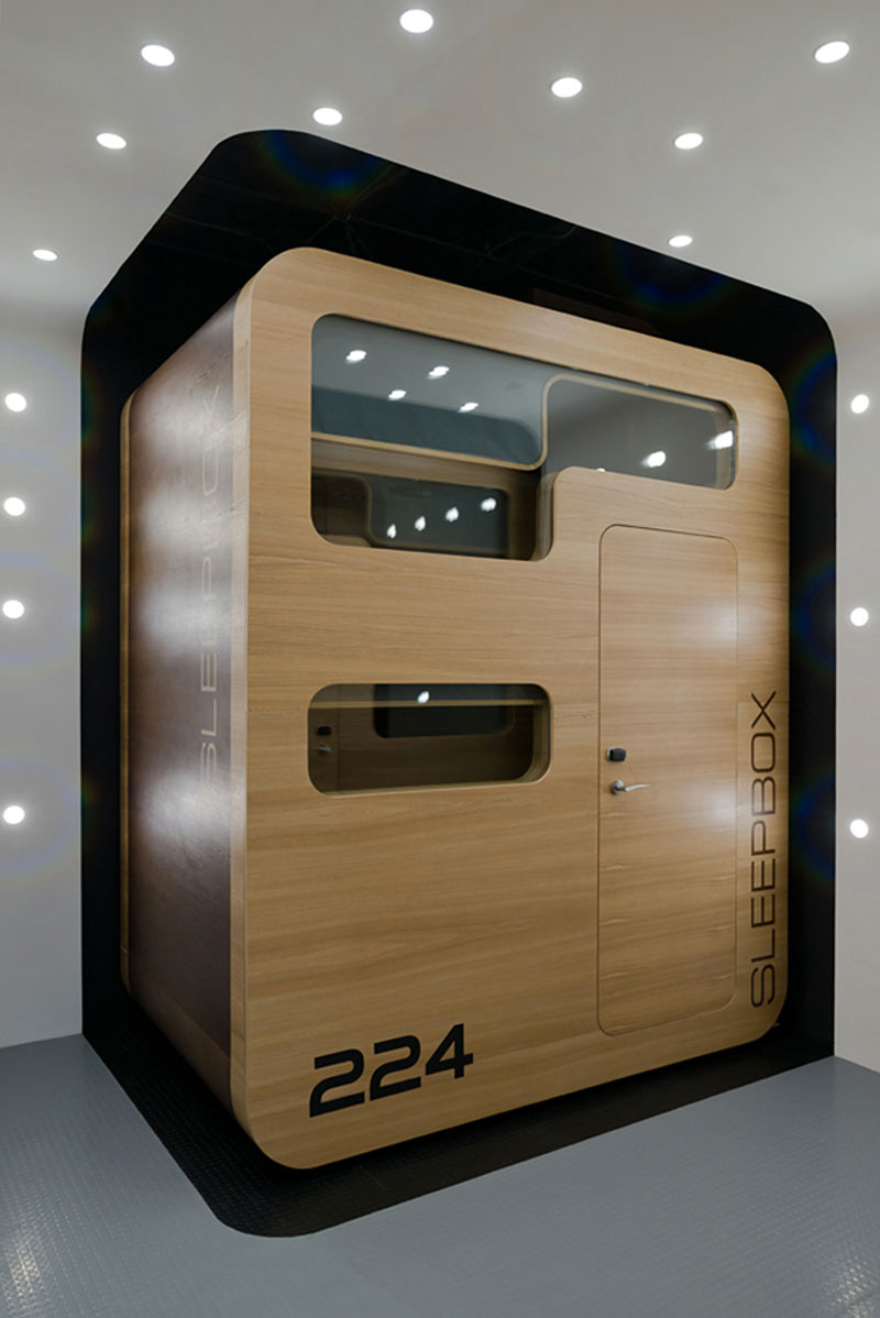 Exterior view of the Sleepbox Mobile Hotel in Tverskaya