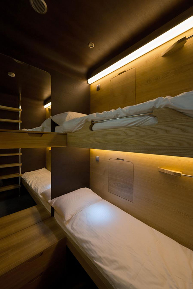 Interior view of a bunk bed in the Sleepbox Mobile Hotel in Tverskaya