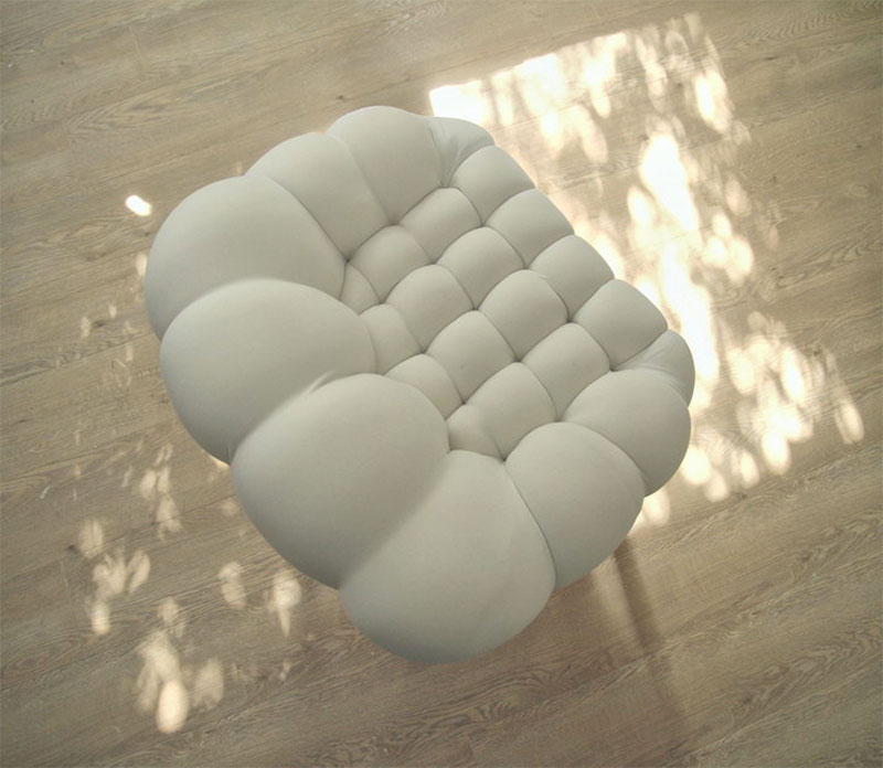 top view of the white Snobar Chair by Yonder Magnetik