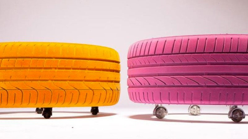 orange and purple tire tables