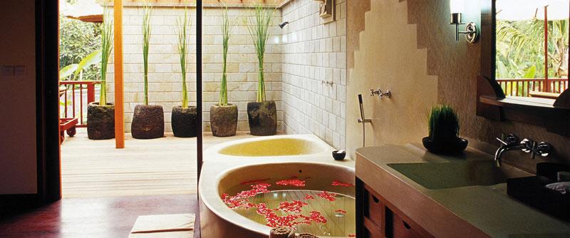 bath in bathroom at the Ubud Hanging Gardens