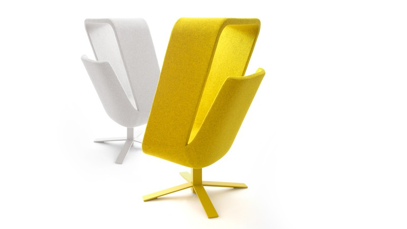 Yellow and white Windowseat lounge chairs designed by Mike and Maaike