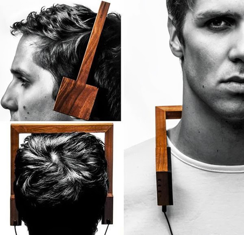 man wearing square wood head phones