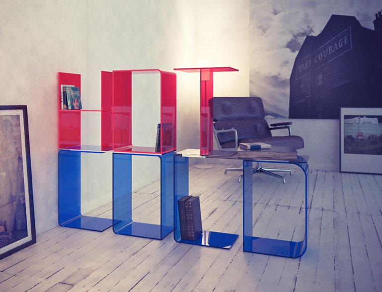 Blue & Red ANITA Letter Floor Shelves by Quattria