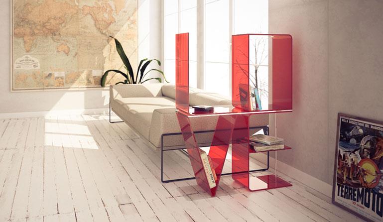 Red ANITA Letter Floor Shelves by Quattria