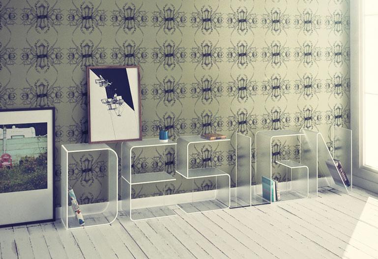 White ANITA Letter Floor Shelves by Quattria