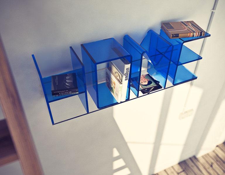 Blue ANITA Letter Wall Shelves by Quattria