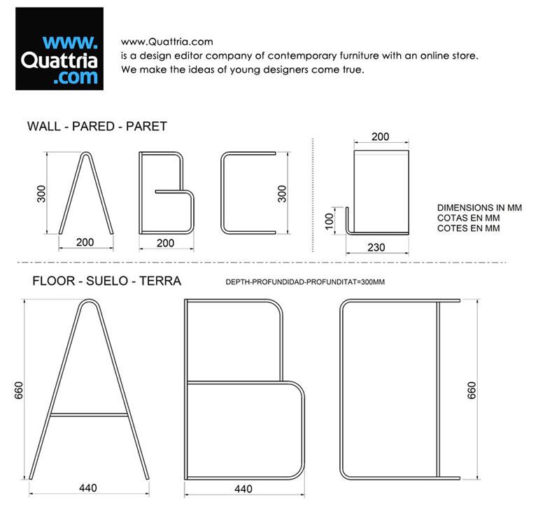 Technical details regarding the ANITA Letter Shelves by Quattria