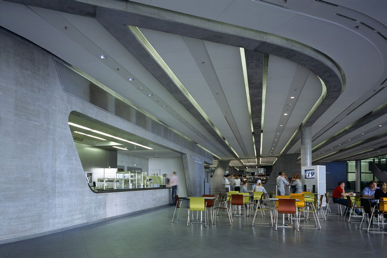 Cafeteria of the BMW Central Building in Leipzig by Zaha Hadid Architects