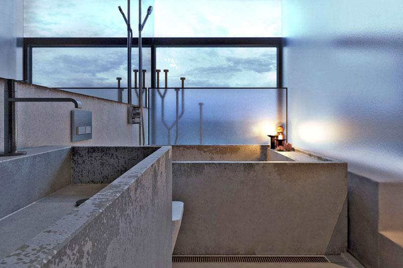 Concrete bathtub with an ocean view at the Chair House by Igor Sirotov Jebiga