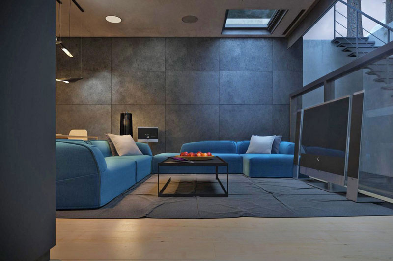 Blue sofa and Interior design of the living room at the Chair House by Igor Sirotov