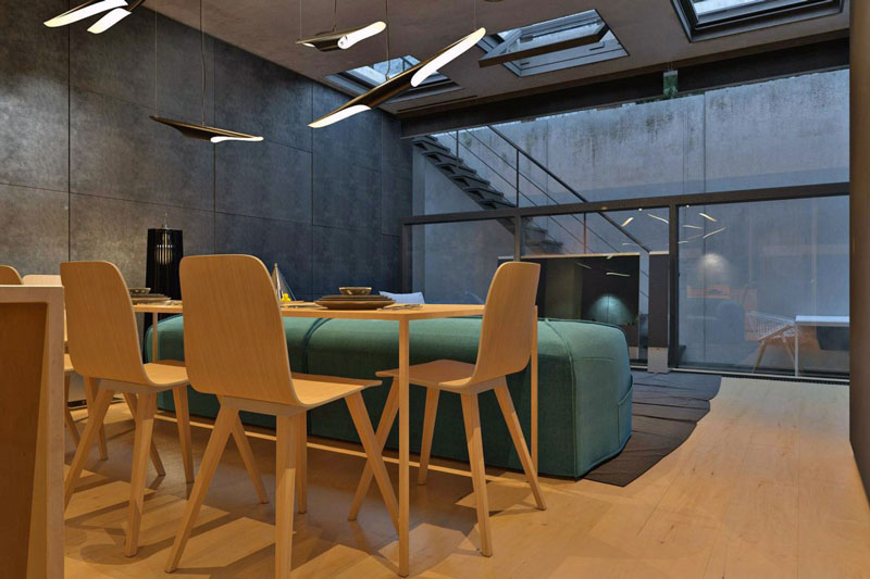 Wooden dinner table and chairs at the Chair House by Igor Sirotov