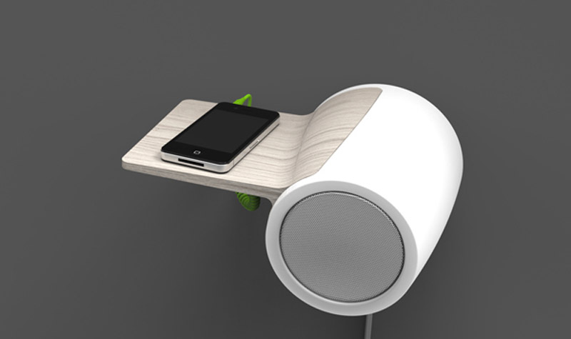 Smarphone connected via USB to the Db60 Wall Mounted Bluetooth Speaker