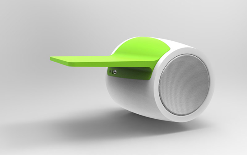 White with green tray Db60 Wall Mounted Bluetooth Speaker by DNgroup Aps