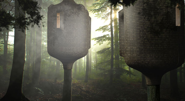 2 Embryo Treehouses in the forest by Antony Gibbon Designs