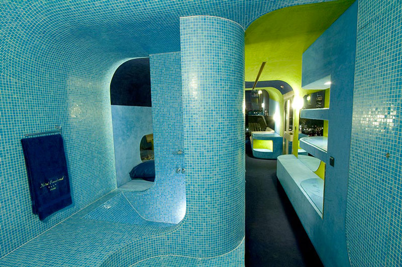 Interior design of the bathroom at the Everland Hotel in Paris