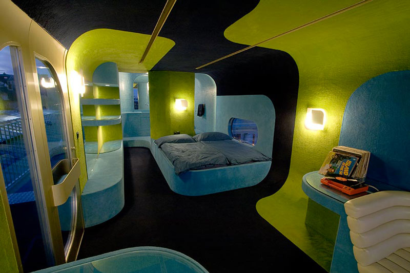 Interior design of the bedroom at the Everland Hotel in Paris