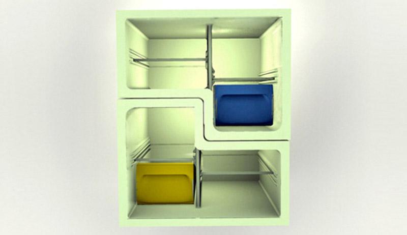 Inside view of Electrolux Design Lab's Flatshare Fridge