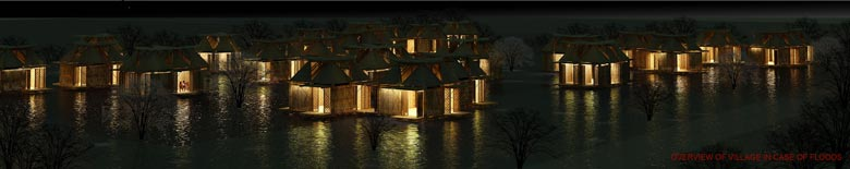 Village in case of flood using the Floating Bamboo Low Cost Houses in Vietnam by H & P Architects