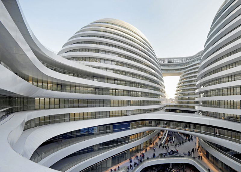 Retail and office area at the Galaxy SOHO Complex in Beijing designed by Zaha Hadid