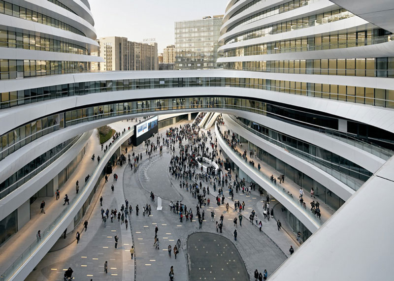 Retail area at the Galaxy SOHO Complex in Beijing designed by Zaha Hadid