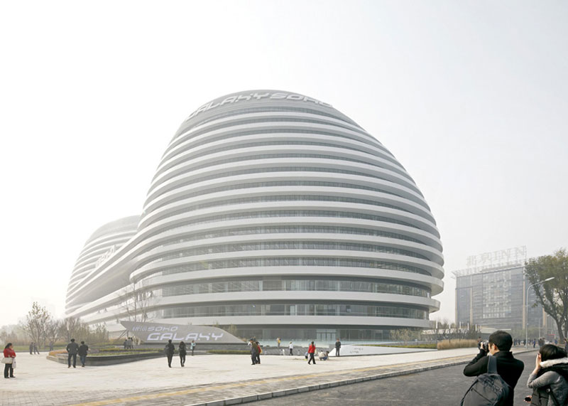 Exterior view of the Galaxy SOHO Complex in Beijing designed by Zaha Hadid