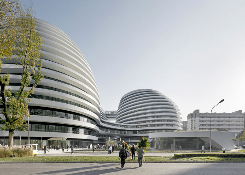 Exterior view during the day of the Galaxy SOHO Complex in Beijing designed by Zaha Hadid